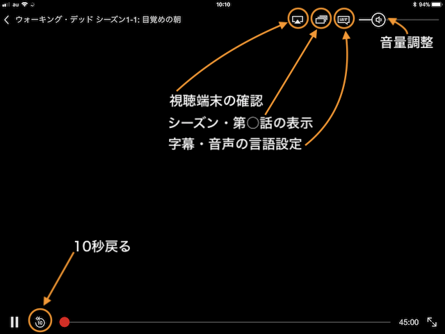 NETFLIXの視聴画面