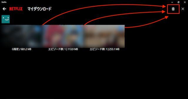 Windowsアプリでダウンロードした動画を削除2