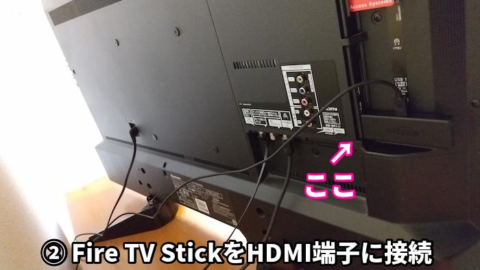 Fire TV StickをテレビのHDMIに接続しているところ