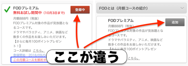 FODの解約できたか確認する画面