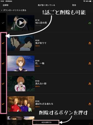Huluダウンロード個別削除画面