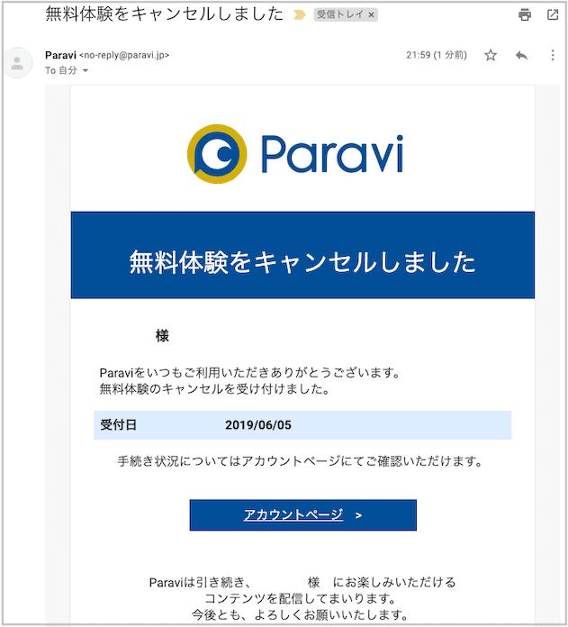 Paravi解約後に送られた無料キャンセルのメール内容