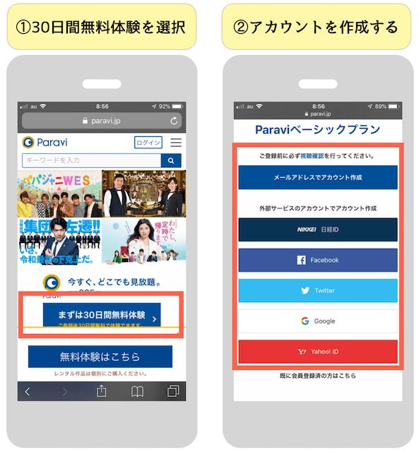 paraviの無料体験登録方法①②