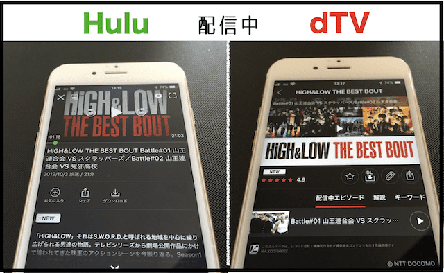 HiGH&LOW THE BEST BOUTをHuluとdTVで表示したところ